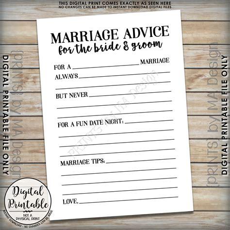 Wedding Advice For The by Marriage Advice Cards Groom Advice Wedding