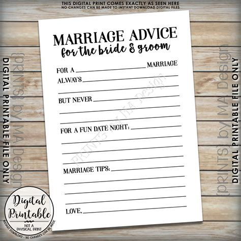 Marriage Advice Cards, Bride & Groom Advice, Wedding