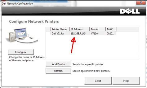 Search Printer Ip Address Setting Static Ip Address For The Dell V715w Printer Printers Peripherals Dell