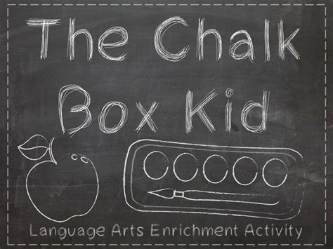 enrichment activity for the chalk box kid by robert bulla