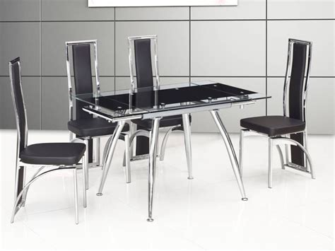 Small Glass Dining Table And 4 Chairs Small Black Extending Glass Dining Table And 4 Chairs Homegenies