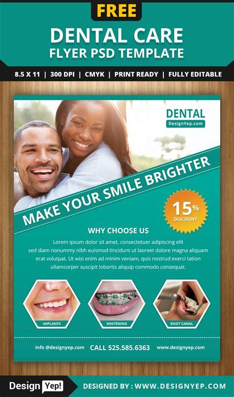 dental flyer templates free dental care flyer psd template designyep