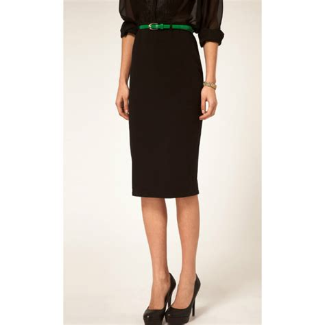womens office high waisted belted pencil skirt