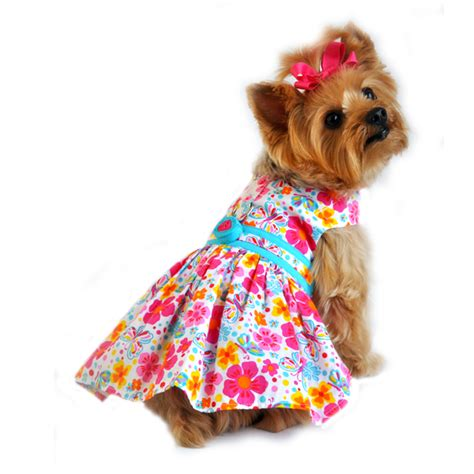 Puppy Dress Pink Floral pink and turquoise floral dress pet impulse