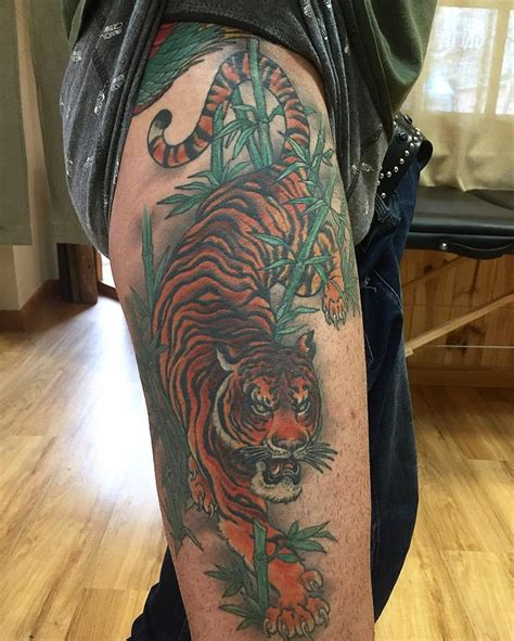thigh tattoos pinterest amazing tiger thigh by lordbaibar inkspiration