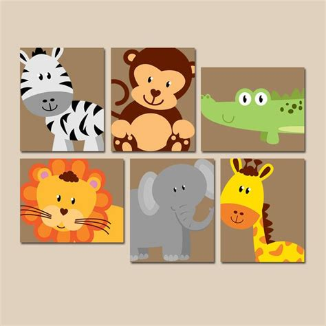 Jungle Themed Nursery Decor Safari Animal Wall Animal Nursery Artwork Zoo Jungle Theme Baby Boy Nursery Decor