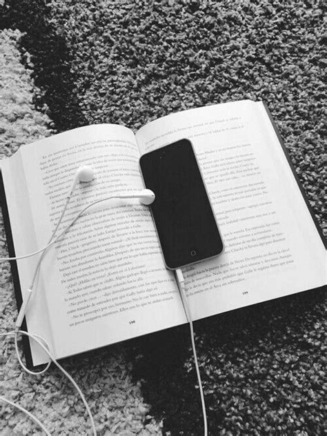black and white, book, headphones, hipster, iphone, read