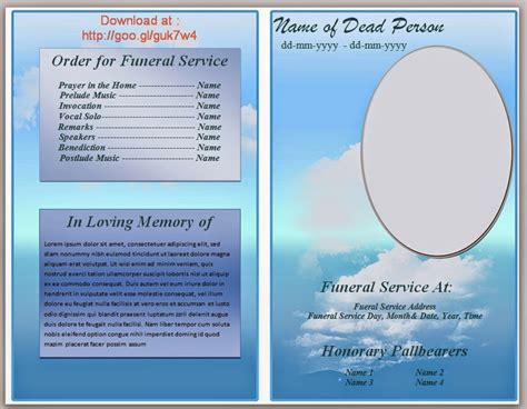Microsoft Word Template Funeral Program Todaybkdr Over Blog Com Memorial Template Microsoft Word
