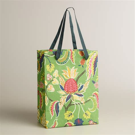 Handmade Gift Bag - small green henry floral handmade gift bag world market