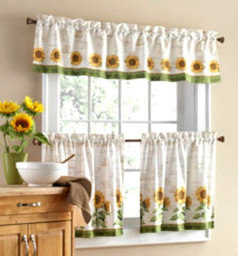 sunflower curtains for kitchen 3 pc sunflower theme curtains 2 tiers valance kitchen