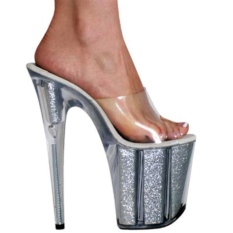 8 inch high heel shoes glitter filled mule ks 0969 8