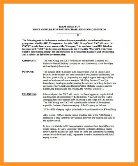 Acquisition Term Sheet Template Free Template Design Acquisition Term Sheet Template