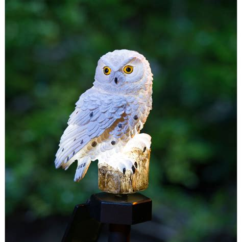 solar powered owl light b m gt snowy owl solar stake light 2868862