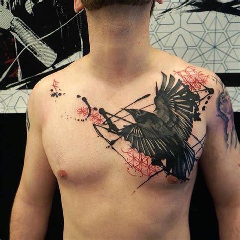 raven tattoo on chest raven trash polka chest tattoo best tattoo ideas gallery