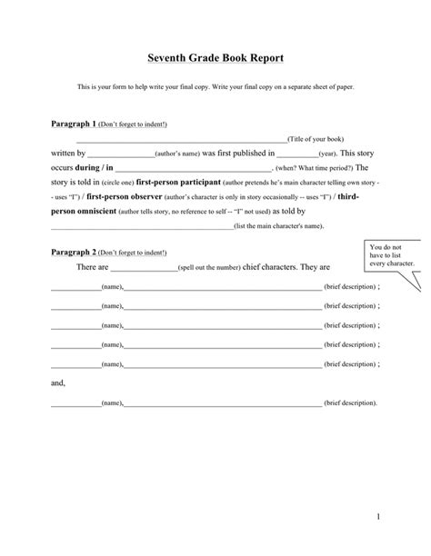 book reports for 7th grade book report template free documents for pdf