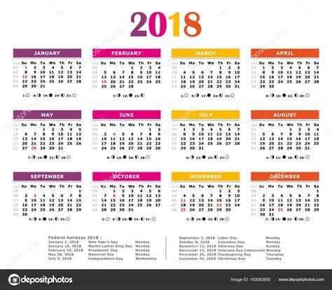 Calendario Anual 2018 Calend 225 Anual Colorida De 2018 Cores De Americanas