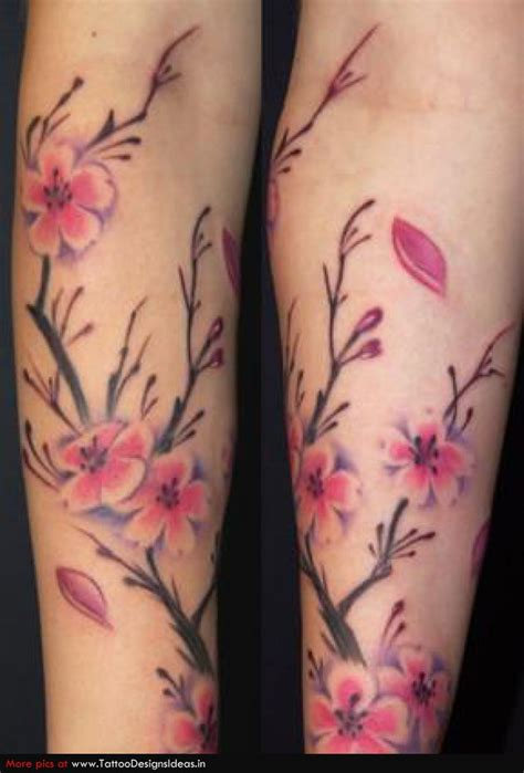 Pink Cherry Blossom Flowers Tattoos On Sleeve Cherry Blossom Arm Tattoos