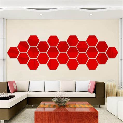 pieces hexagonal wall decoration acrylic mirror wall
