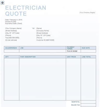 electrician quote template electrician quotation template quote template