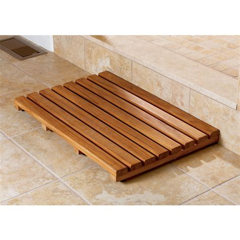 wood bathroom mat wood shower mat give a little natural accent to your