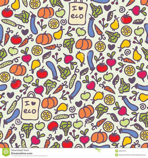 free doodle vector pattern seamless healthy food pattern stock vector illustration