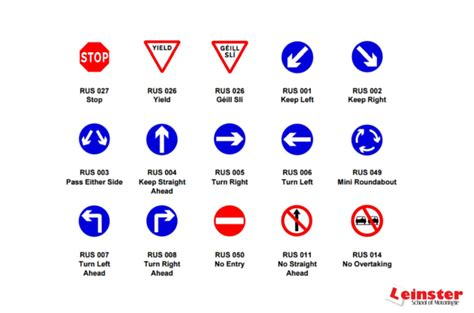 printable irish road signs driving test tips checklists driving school resources