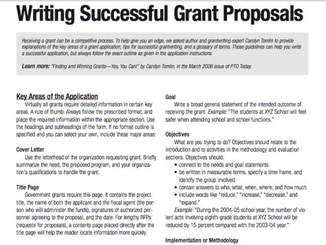 Sle Grant Template For After School Program Tips For Writing Successful Grant Proposals 3 Pages