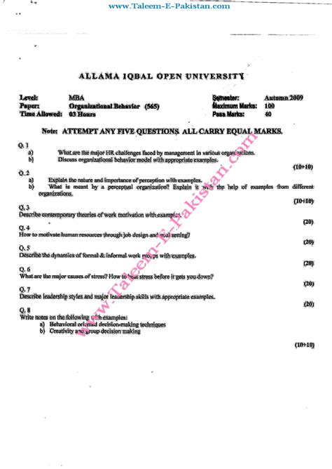 Mba 1st Sem Organisational Behaviour Notes by Organisational Behavior Mba Paper Report898 Web Fc2