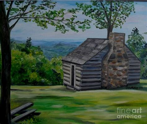 Cabin Parkway by Cabin On The Blue Ridge Parkway In Va Painting By Julie
