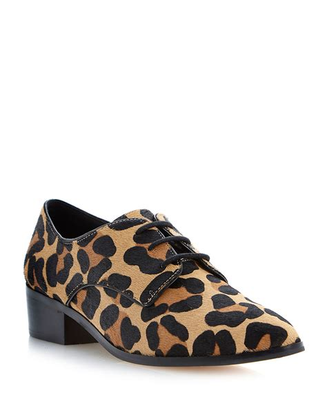 animal print oxford shoes dune loris leopard print pony hair oxfords lyst