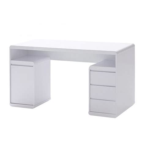 White Gloss Office Desk Daniele Workstation Desk In White High Gloss With Storage Home Furniture Pinterest The