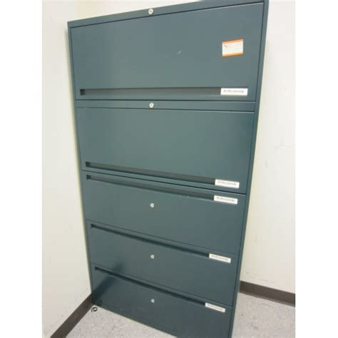 Lockable Office Drawers by Office Specialty Teal 5 Drawer Lateral File Cabinet