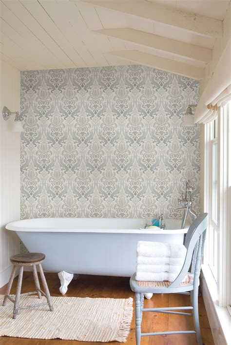 Bathroom Shower Curtain Decorating Ideas blue damask wallpaper feature wall in a bathroom with a