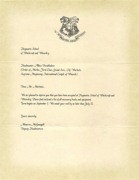 Harry S Acceptance Letter To Hogwarts hogwarts letter of acceptance harry potter