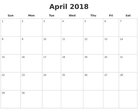 printable calendar blank 2018 june 2018 printable blank calendar