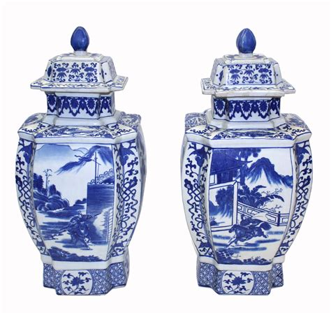 blue and white chinese porcelain gicl 233 e prints set of 6 chinese porcelain four sided vases in blue and white pair