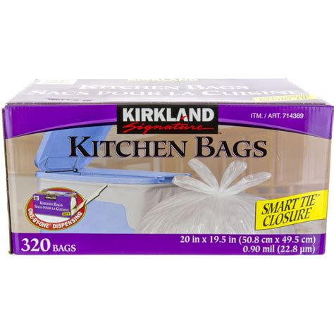 kirkland signature kitchen garbage bags white 320pk