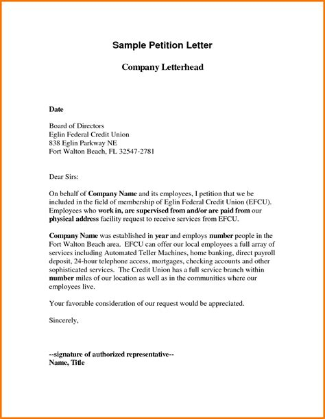 Petition Letter Format Exles Sle Petition Letter Best Letter Sle