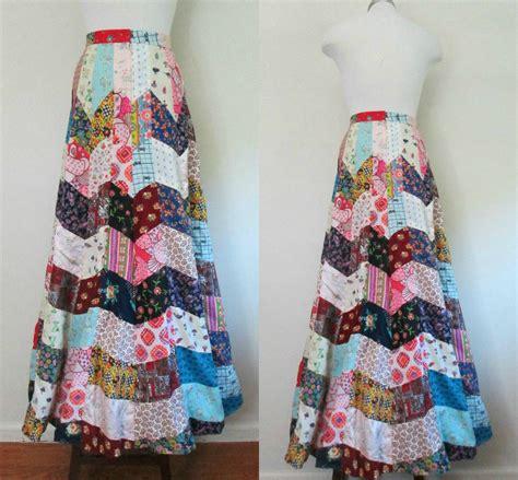 Patchwork Skirt - handmade patchwork maxi skirt vintage 1960s woodstock boho