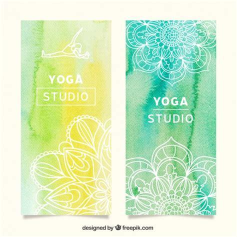 banner design for yoga watercolor yoga banner vector free download