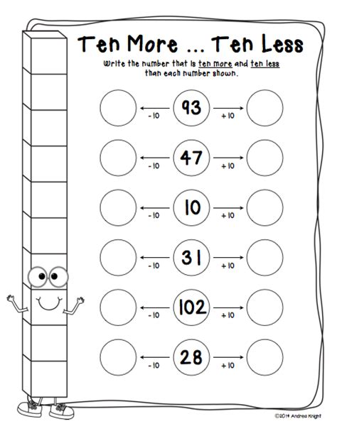 10 More 10 Less Worksheets by Let S Practice Place Value Student Worksheets For Grades