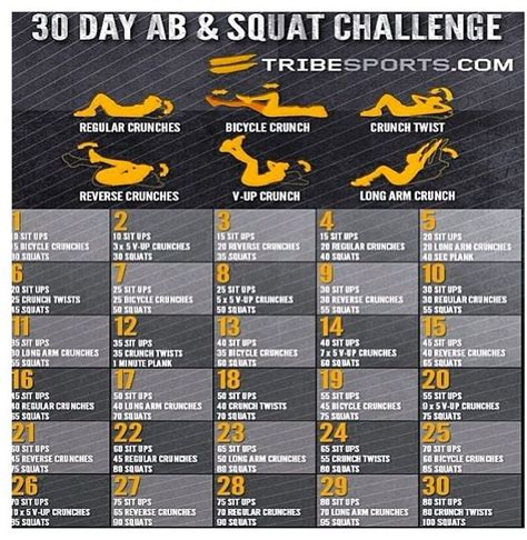 Ab and squat challenge new calendar template site
