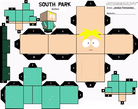 Papercraft Park - butters cubee template by jordof131 deviantart on