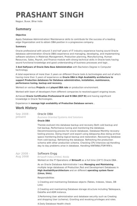Dba Resume by Dba Oracle Exemple De Cv Base De Donn 233 Es Des Cv De Visualcv