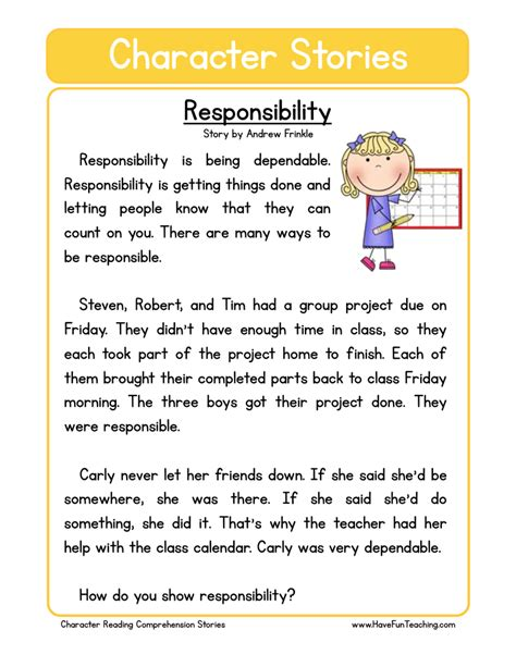 Respect And Responsibility Worksheets by Test Practice Teaching