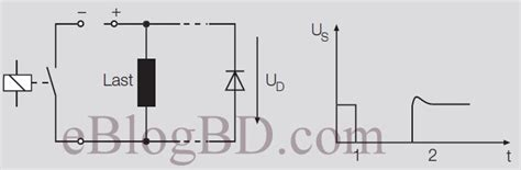 protection diode in parallel relay contact protection circuit against transient voltage