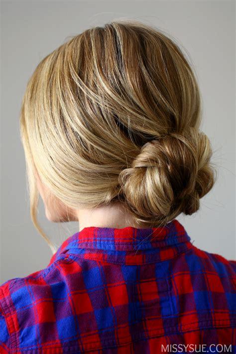 quick  easy braided bun easy   school