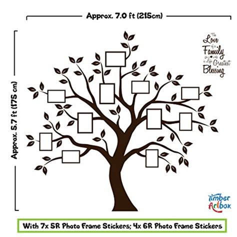 timber artbox large family tree photo frames wall decal timber artbox beautiful family tree wall decal with quote