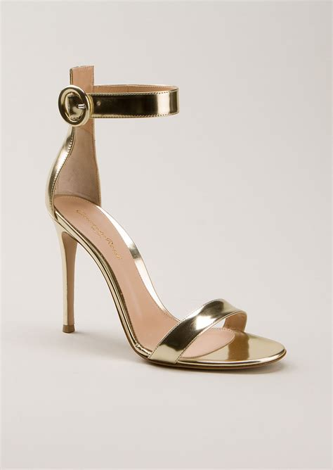 gold tone sandals gianvito gold tone polished portofino leather heels
