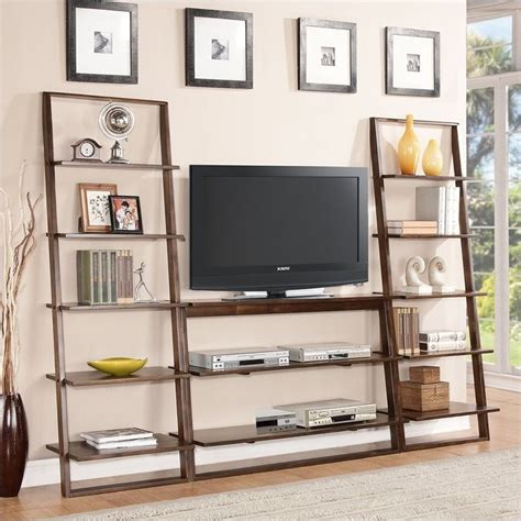 riverside furniture lean living leaning bookcase in smoky driftwood riverside furniture lean living tv stand in burnished